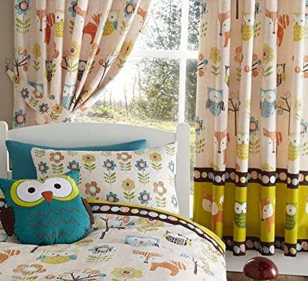 Excellent Woodland Creatures Owls Luxury Fully Lined Curtains Set 66