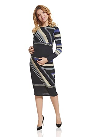 80da5967d3 Nothing But Love Maternity Bodycon Maternity Dress Midi Crew Neck Long  Sleeve Pencil Dresses for Pregnant