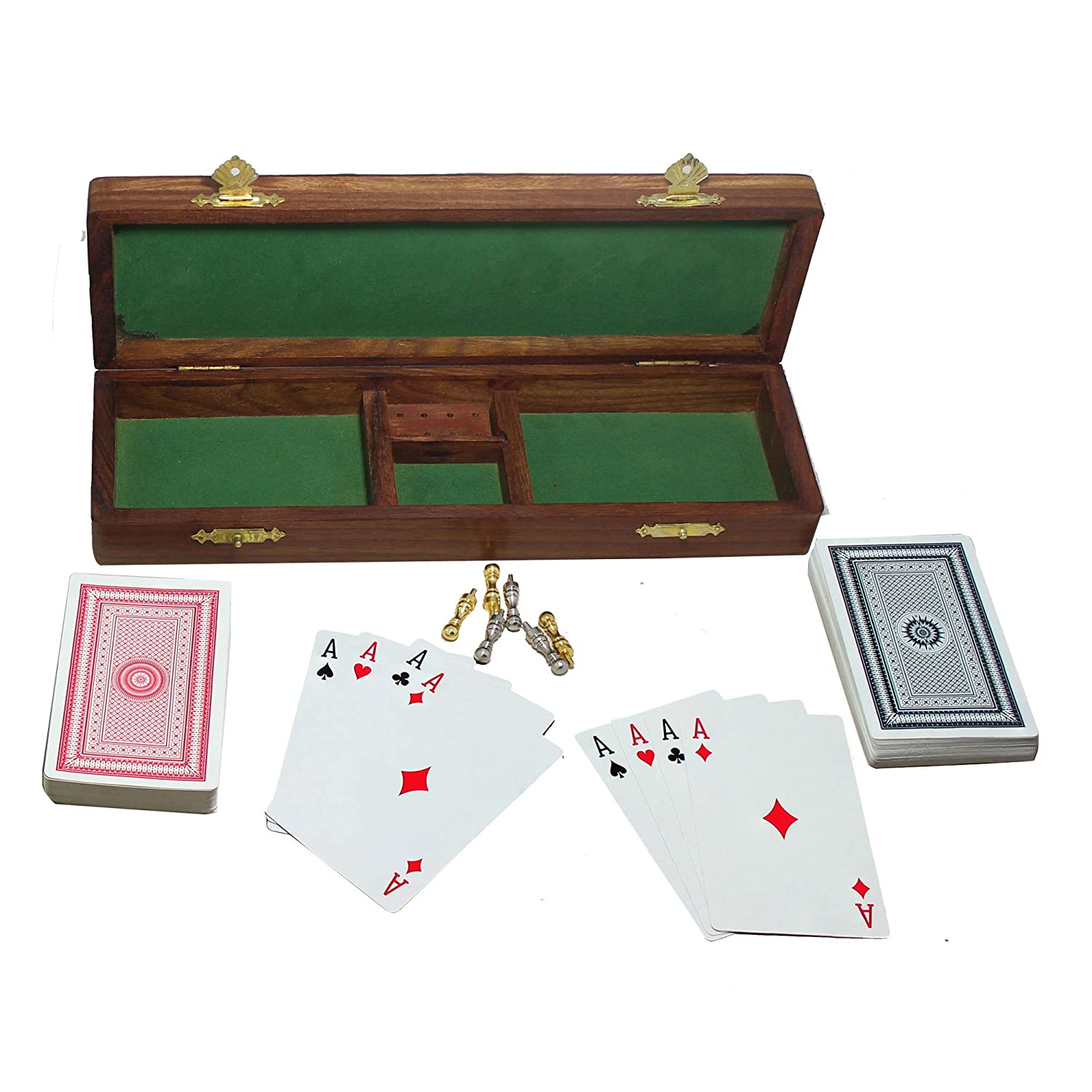 RoyaltyRoute Wooden Cribbage Board Game 2 Playing Cards Deck 6 Metal Cribbage Pegs Christmas Gifts
