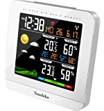 Youshiko Wireless Colour Weather Station (Premium Quality/HD Display) with Radio Controlled Clock (UK Version) Indoor Outdoor Temperature Thermometer Humidity Max Min with 24 Hour Auto Reset