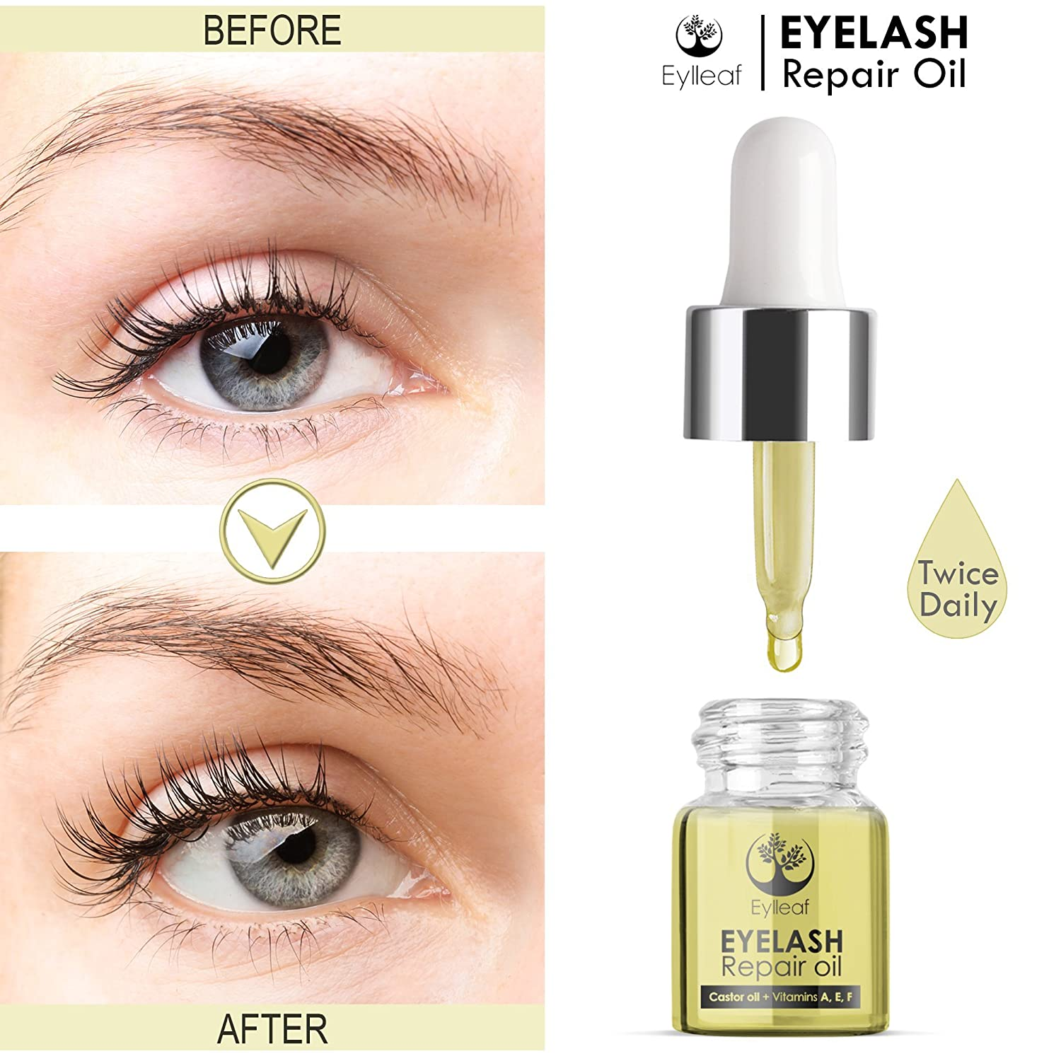 f9f11529726 Eyelash Growth Serum by Eylleaf | Castor Oil Conditioner for Long Natural  Eyelashes and Thick Eyebrows: Amazon.co.uk: Beauty