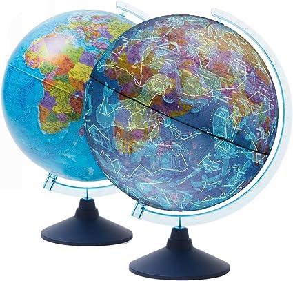 Globo luminoso globo bambini mappamondo illuminato argento