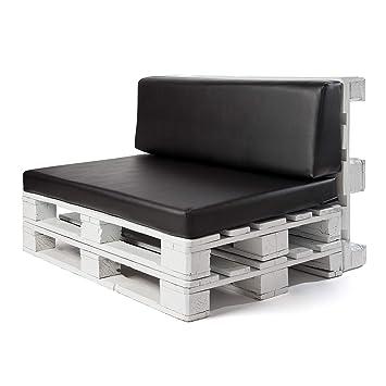 Conjunto colchoneta para sofas de palet y respaldo Negro (1 x Unidad) Cojin relleno con espuma. | Cojines para chill out, interior y exterior, jardin ...