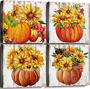Pumpkin Wall Art Decor Canvas Print Autumn Sunflowers Yellow Sunshine Flower Pictures Watercolor Painting Stretched Framed Artwork Living Room Bathroom Kitchen Home Fall Decoration 12x12 Inch 4 Panels