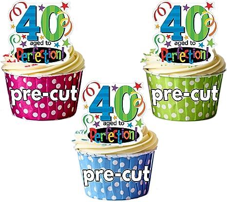 Precortado 40th cumpleaños años a la perfección – Decoración comestible para cupcakes/tarta decoración (Pack de 12): Amazon.es: Hogar