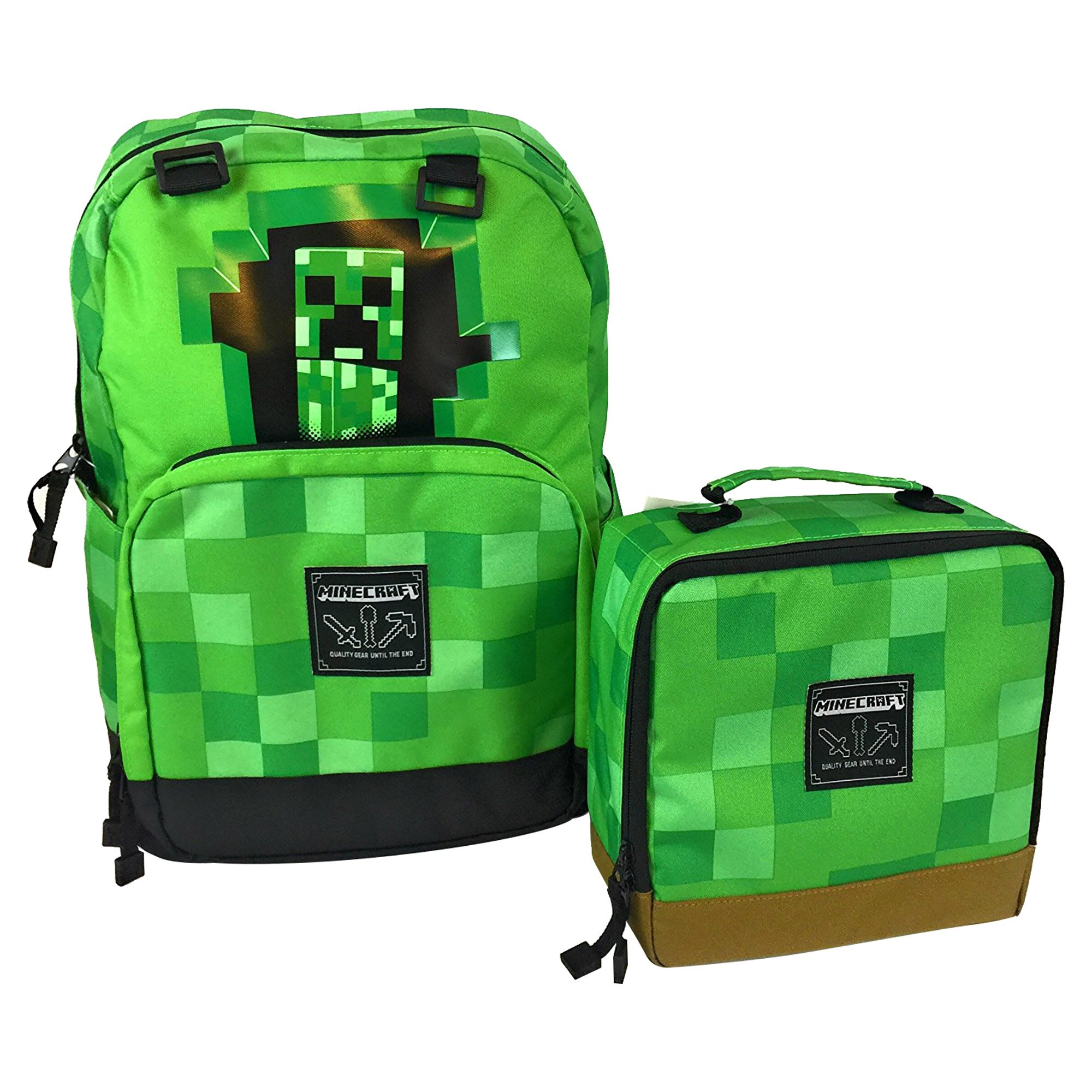 JINX Minecraft Creepy Creeper Backpack & Creeper Block Lunch Bag Set