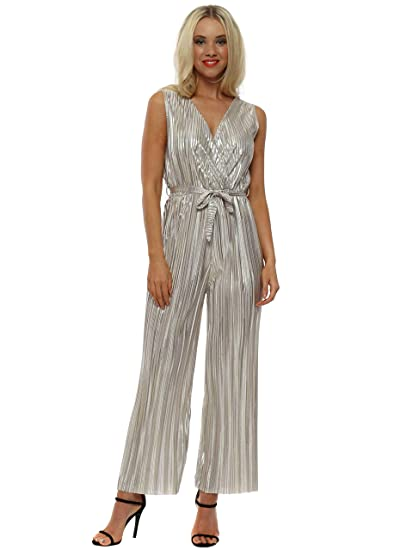 852005882132 Port Boutique Gold Metallic Pleated Low V Jumpsuit Gold One Size   Amazon.co.uk  Clothing