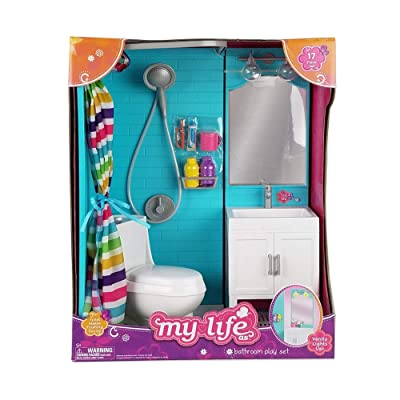"My Life as 18"" Doll 17 Pc Bathroom Playset - Light up vanity, Flushing Toilet: Toys & Games"