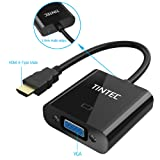 HDMI to VGA, Tintec Active HDMI Female to VGA Male Gold-Plated High-Speed Converter with Audio Cable 1080P with 3.5mm Audio Jack for PC,Power-Free, Projector, Raspberry Pi Laptop, PS3,Xbox STB Blu-ray
