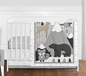 Sweet Jojo Designs Beige, Grey and White Boho Mountain Animal Gray Woodland Forest Friends Baby Unisex Boy or Girl Nursery Crib Bedding Set Without Bumper - 4 Pieces - Deer Fox Bear