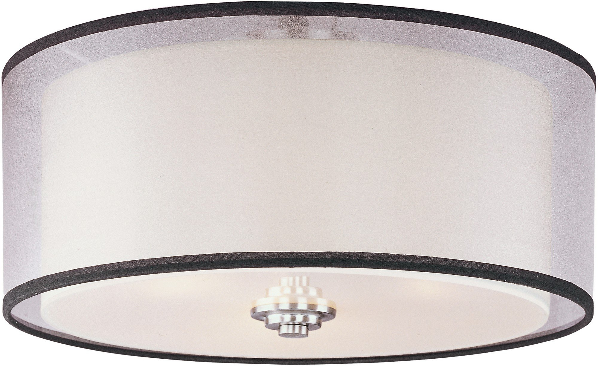 Maxim 23031SWSN Orion 3-Light Flush Mount, Satin Nickel Finish, Satin White Glass, MB Incandescent Incandescent Bulb , 8.5W Max., Wet Safety Rating, 3000K Color Temp, Shade Material, 595 Rated Lumens