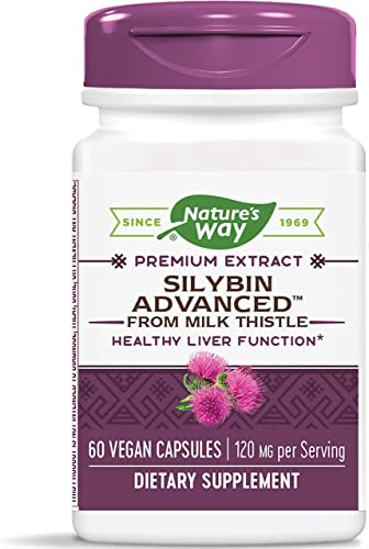 Nature s Way Silybin Advanced from Milk Thistle, 120 mg per Serving, 60 Vcaps Packaging May Vary