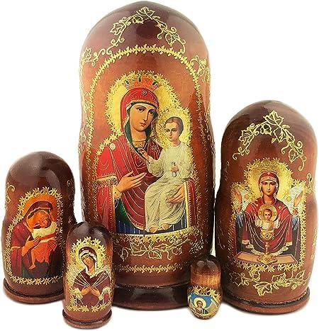 15cm Matroschka 5tlg 5 Eier mit 5 Ikonen Gottes Mutter