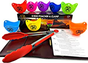 Premium(8pack+1) silicone egg poacher cups cooking perfect poached eggs make perfect egg poacher microwave, stovetop egg cooking and breakfast is ready + OKTHANNA red large kitchen tong