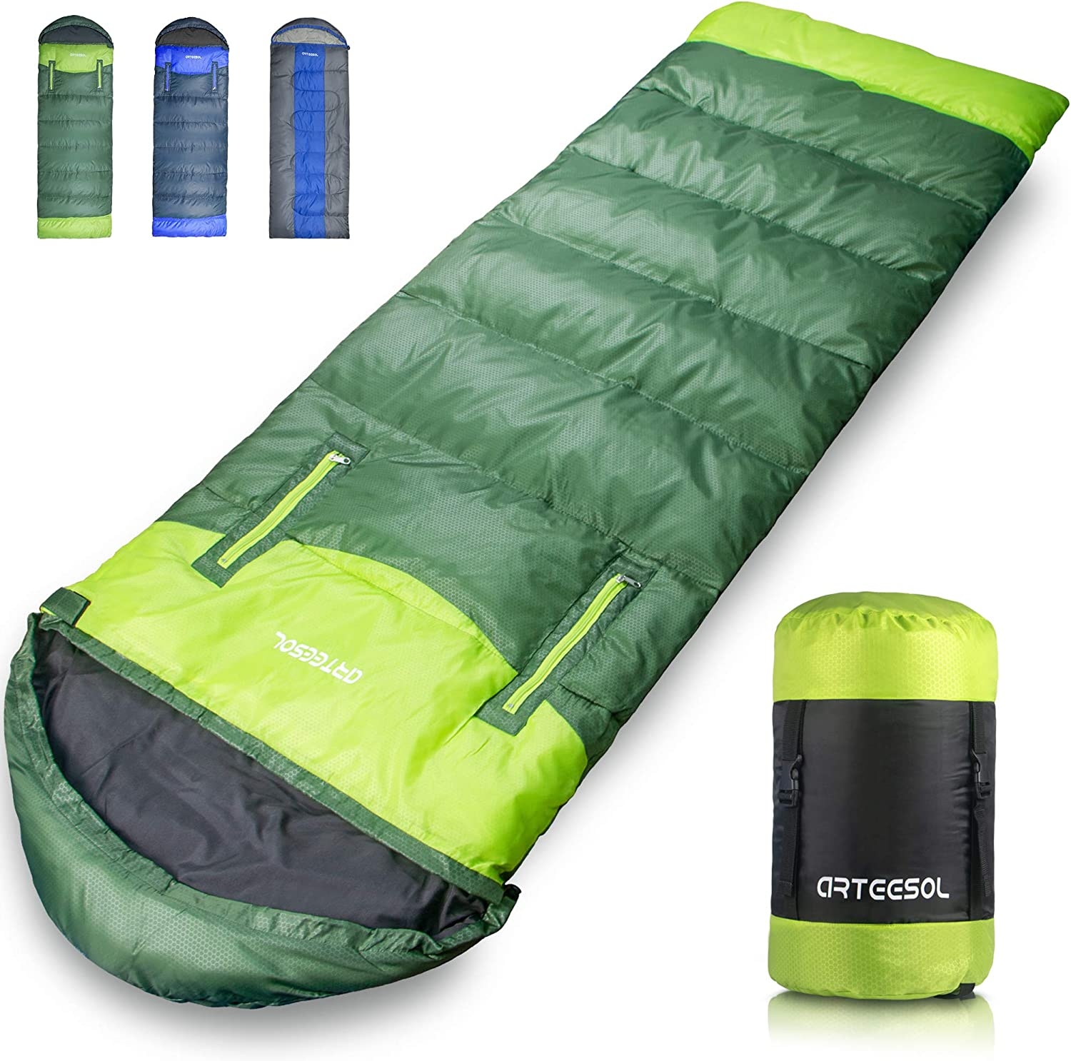 arteesol Sleeping Bag, Waterproof Lightweight for Indoor & Outdoor, 5-85℉ 4 Seasons Warm and Comforable, Camping Gear Equipment for Hiking Traveling ...