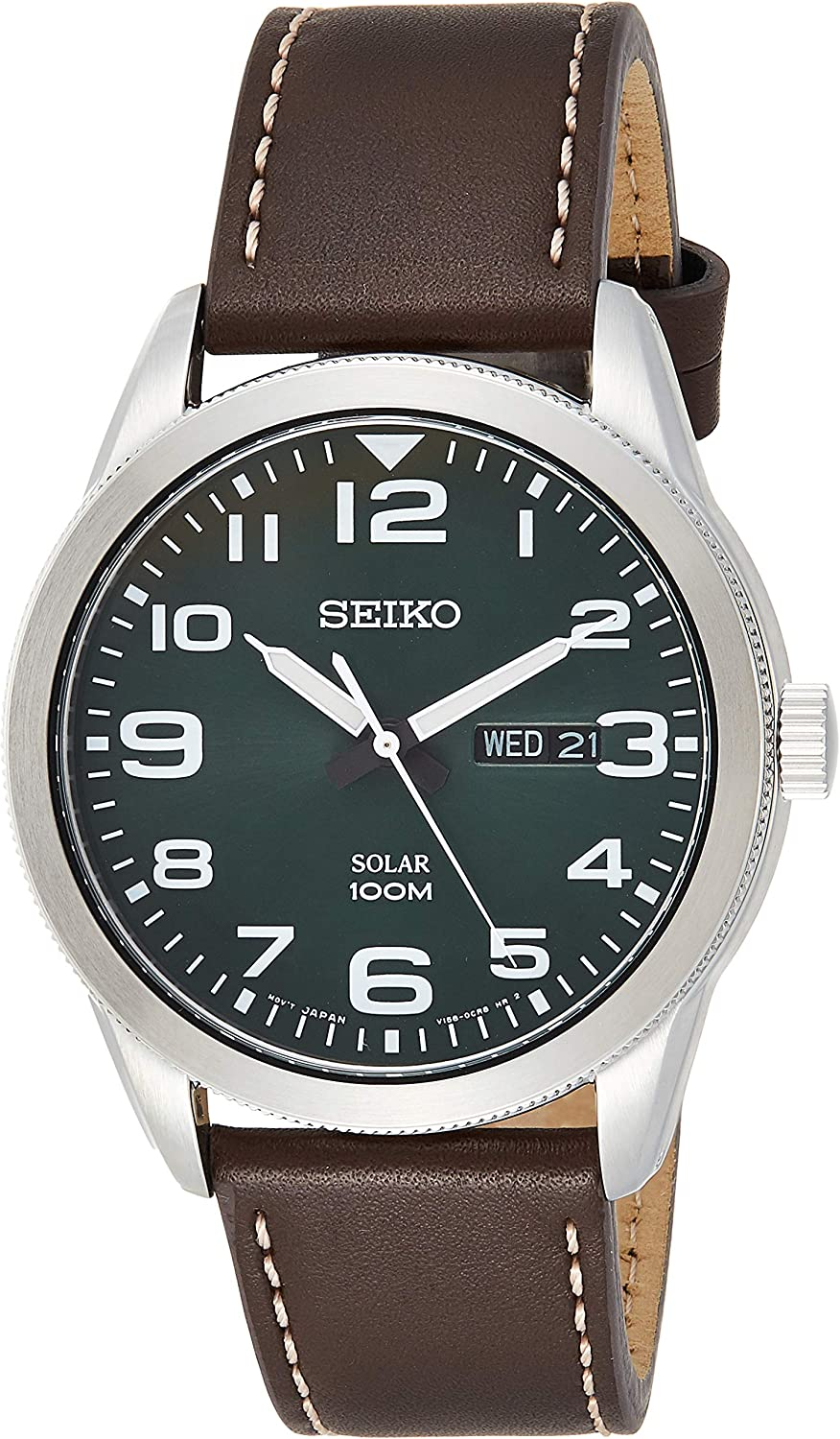 Seiko Men's Year-Round Stainless Steel Solar Powered Watch with Leather Strap, Brown (Model: SNE473P1)