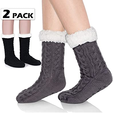 1 Pair Ladies Fleece Lined Super Soft Knitted Slipper Gift Present 2 sizes