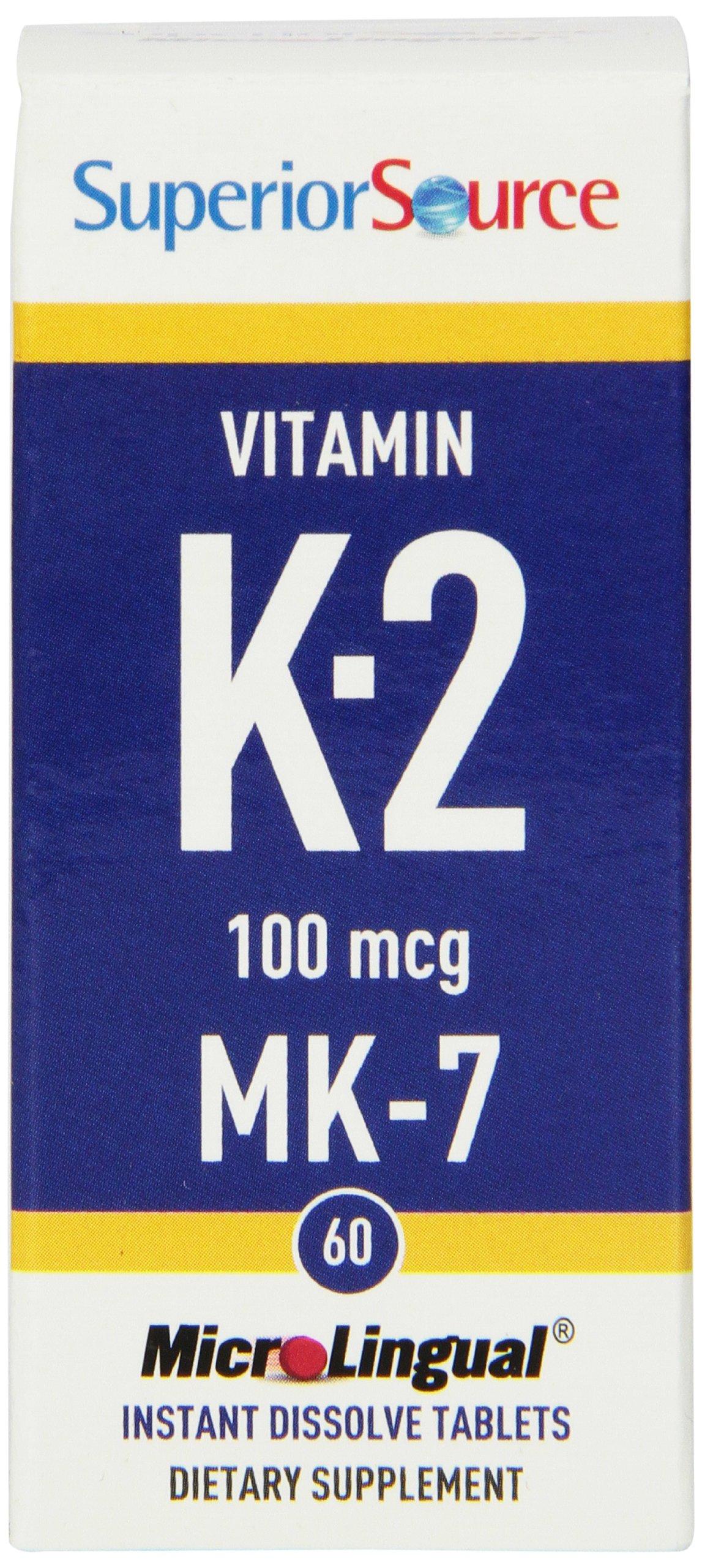 Superior Source Vitamin K2-MK7, 100 mcg, 60 Count