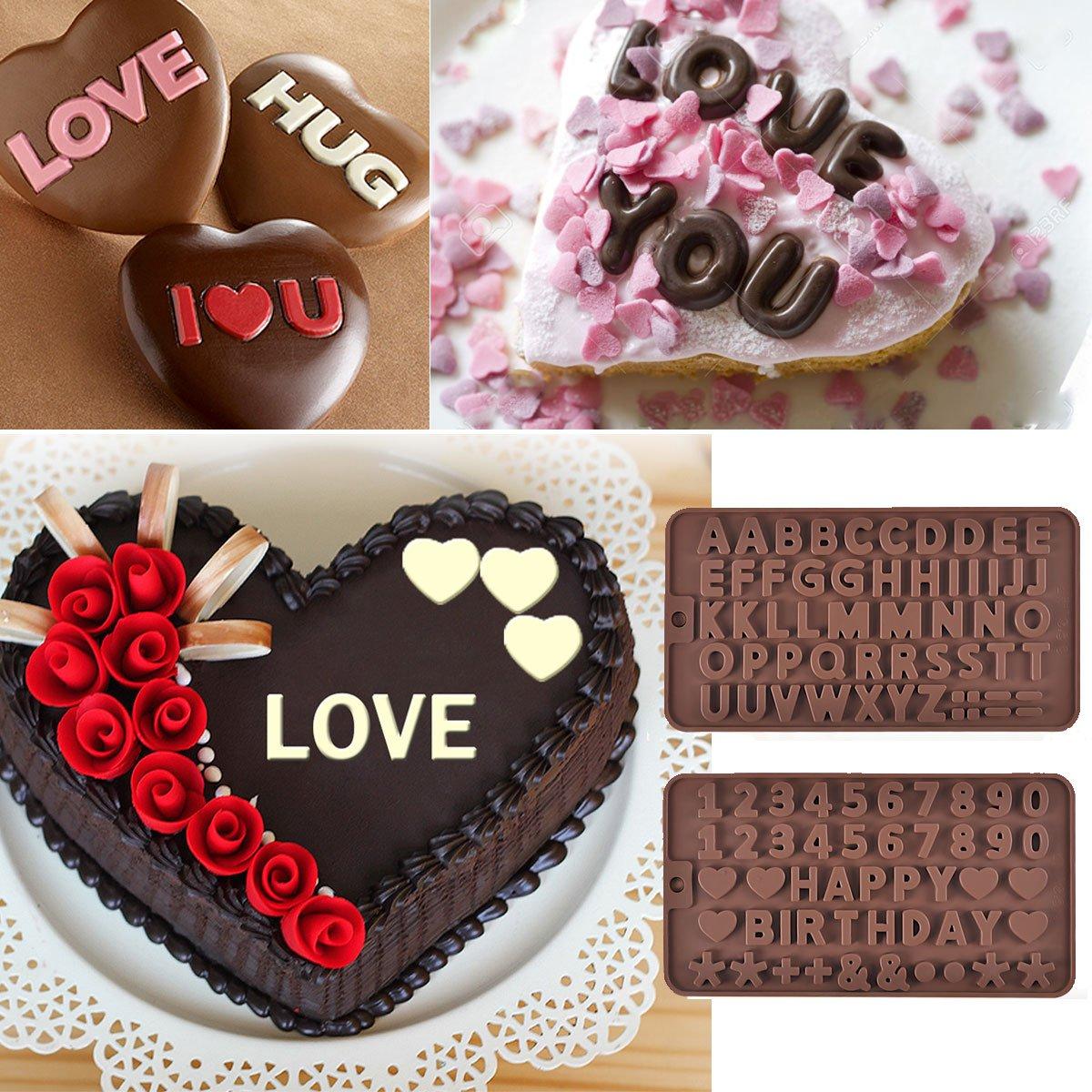 prokitchen silicona carta número molde para hornear chocolate fondant decoración de pasteles conjunto de 2 de color marrón: Amazon.es: Hogar