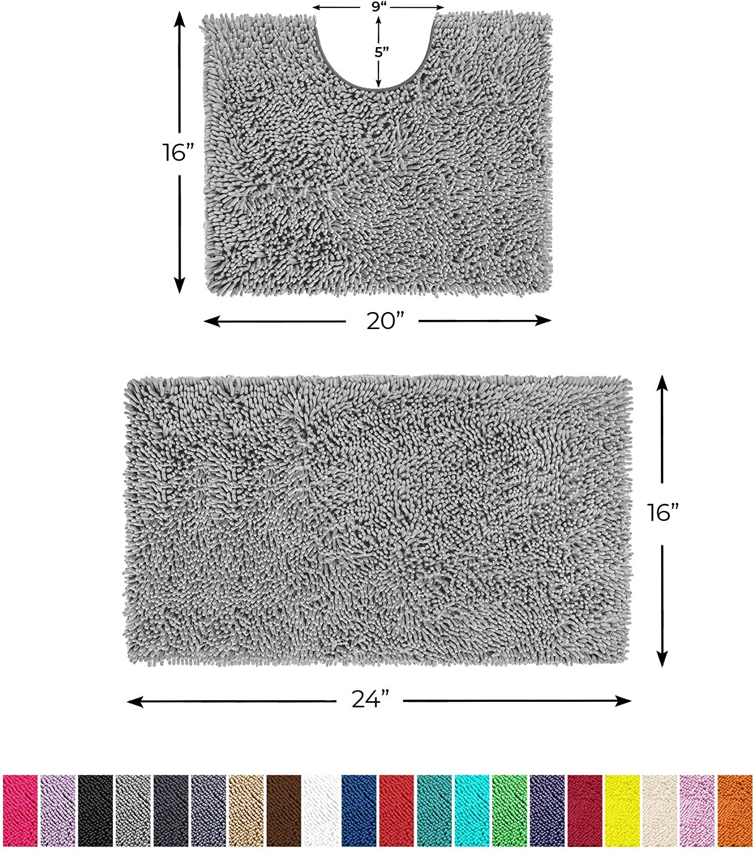 LuxUrux Bathroom Rugs Luxury Chenille 2-Piece Bath Mat Set, Soft Plush Anti-Slip Bath Rug +Toilet Mat.1'' Microfiber Shaggy Carpet, Super Absorbent (Curved Set Small, Light Grey): Kitchen & Dining