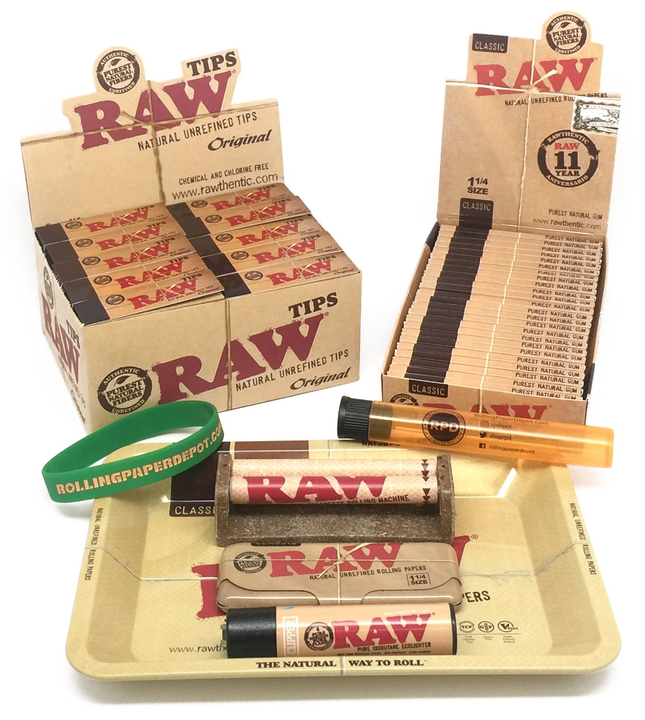 Bundle - 80 Items - RAW Rolling Paper Mini Rolling Tray Sampler Plus+ by RAW