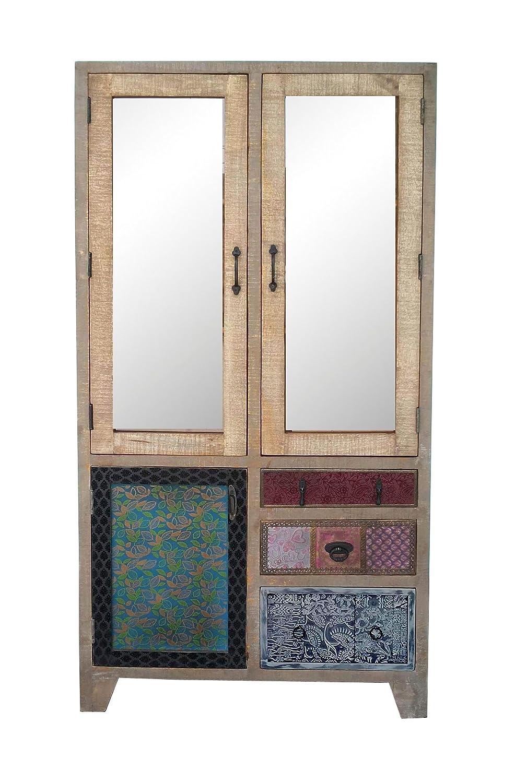 The Wood Times Wohnzimmerschrank Massiv Vintage Look Dhaka Mangoholz, BxHxT 90x180x40 cm
