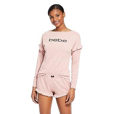 01852ace8e4d bebe Womens Long Sleeve Shirt and Shorts Pajama Lounge Sleep Set at ...