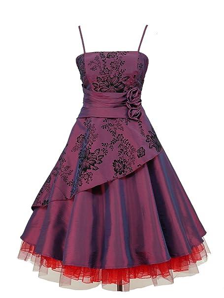 dress190 Flock diseño de flores 50s 60s Rockabilly Vintage Prom Vestido de fiesta multicolor morado 40