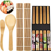 Sushi Making Tools Beginner Tools Set Include Sushi Rolling Pads Nori Rice Bamboo Curtain Roll Mats Equipment Chopsticks Rice Paddle and Rice Spreader, Set of 9