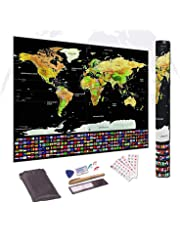 Scratch Off World Map, 83 x 60cm – Deluxe Glossy World Travel Map with Tube Packaging – Scratch Tool & accessories Included – Perfect Gift for Travelers - by Direct From Factory