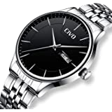 CIVO Mens Watches Waterproof Stainless Steel Day Date Calendar Wrist Watch for Man Luxury Business Fashion Gents Dress Casual Minimalist Analogue Quartz Watch Black Dial