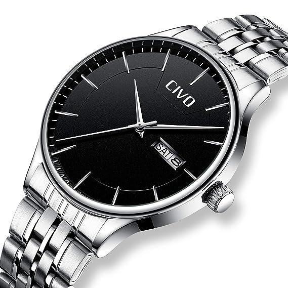 CIVO Relojes para Hombre Acero Inoxidable Reloj de Pulsera de Lujo Impermeable Fecha Calendario Clásicos Analogicos