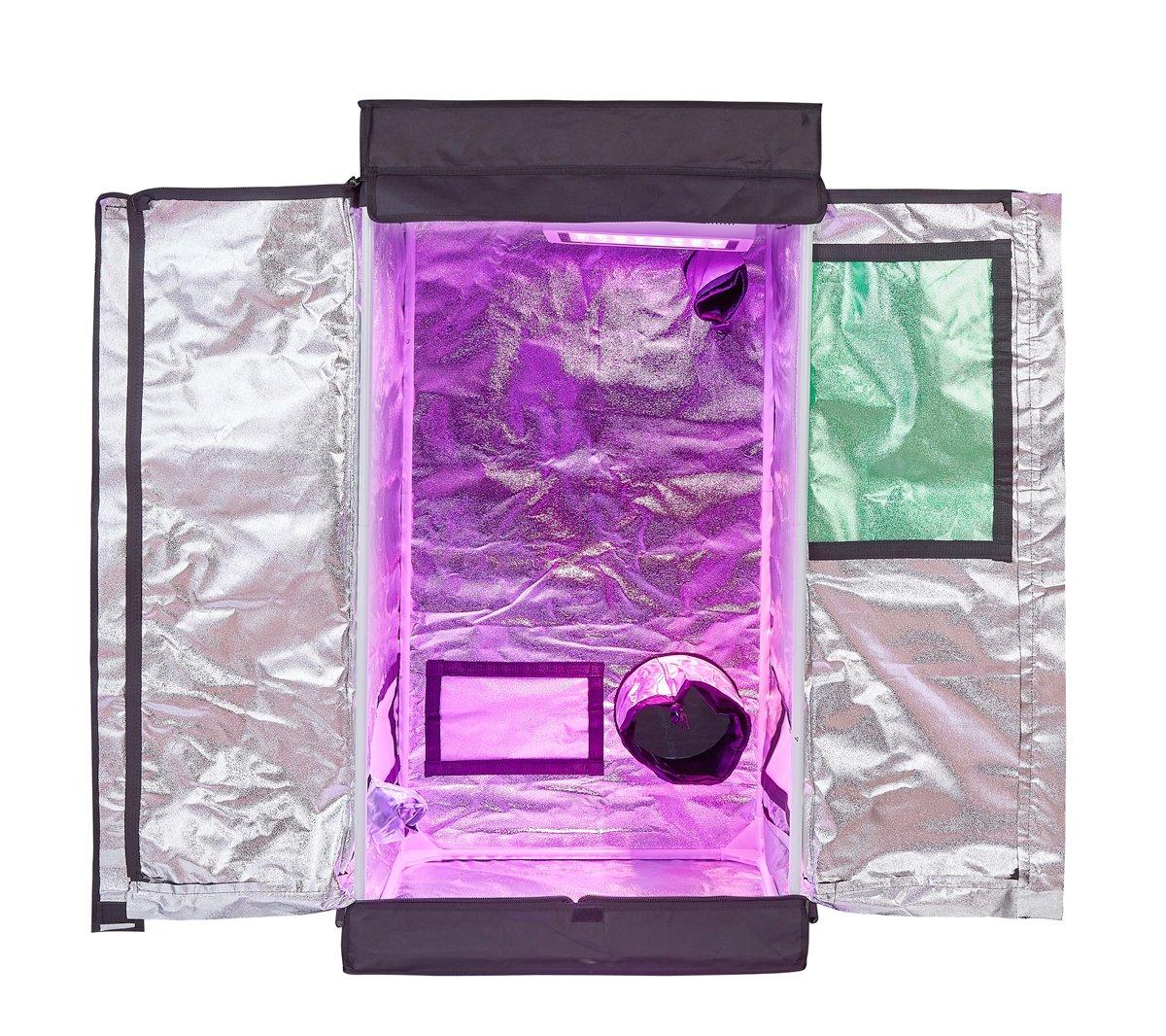 TopoLite 600D Grow Tent Room 24''x24''x48'' w/Viewing Window/T-door Reflective Mylar Indoor Garden Growing Room Hydroponic System (24''x24''x48'' w/T-door)