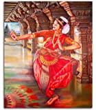 Tamatina Bharatnatyam Canvas Painting for Home Decor (Fabric, 12X10 Inches, Multicolour)