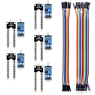 Kuman Sensor de Humedad de Tierra 5 pcs + 10pin / 20pin Cable de Puente Hembra / Macho a Hembra, Sistema de Riego Automático Compatible con Raspberry pi 3 PI 2 RPI 1 model B+ B Arduino Uno R3 Mega 2560 KY70