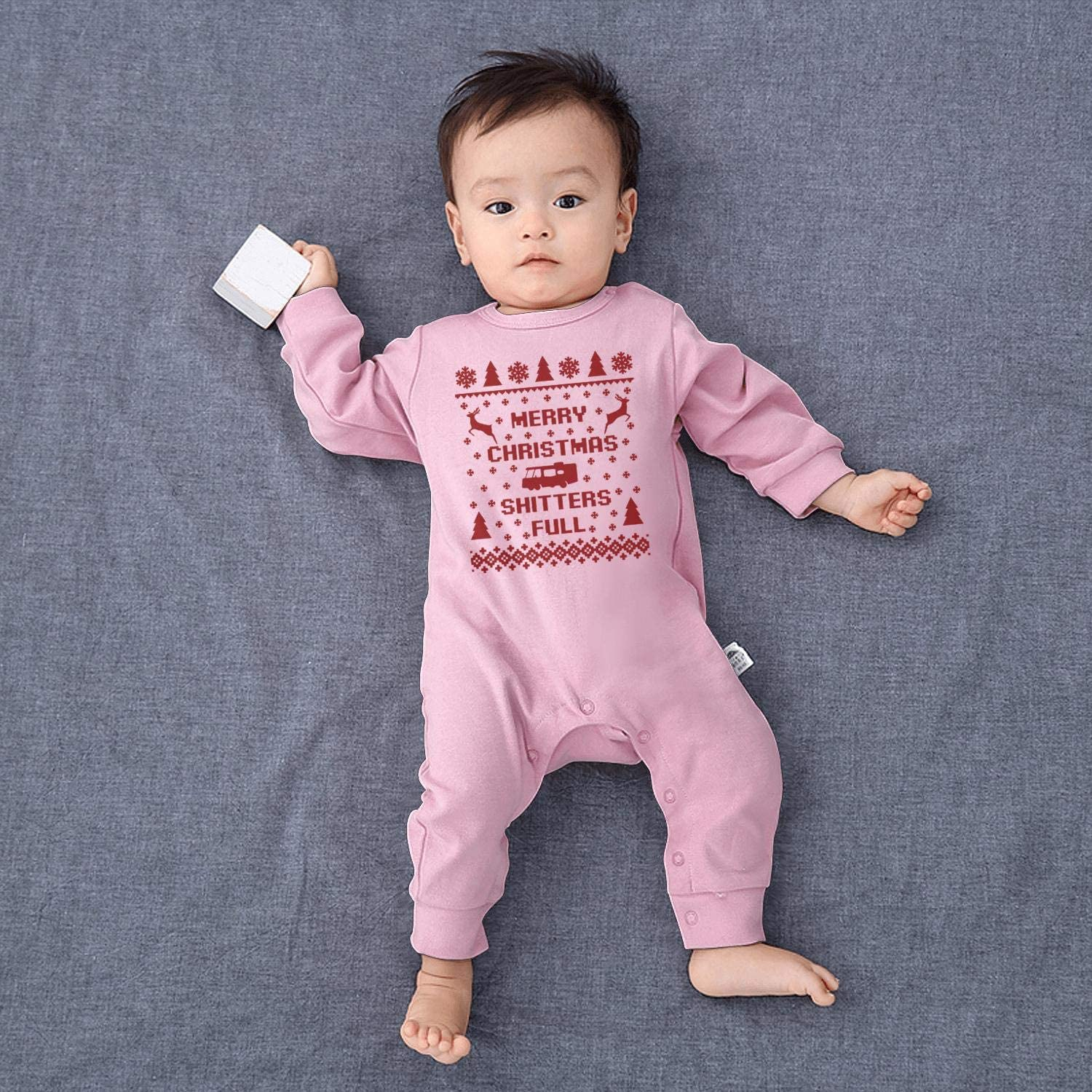 LHSCVJSEKL Merry Christmas Shitters Full Baby Onesie Organic Cotton Pretty Soft Girl Long Sleeve Bodysuit