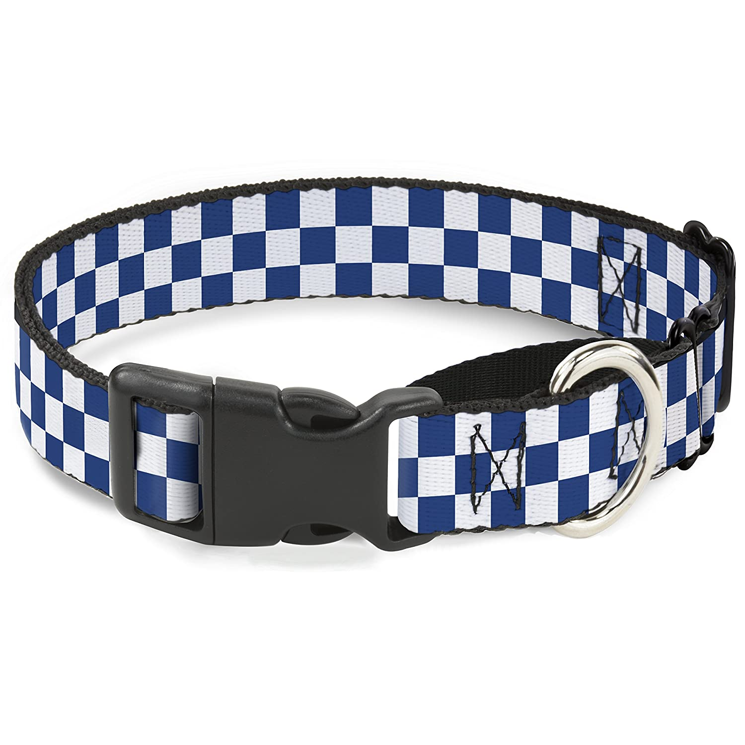 Buckle-Down Checker blueeku White Martingale Dog Collar, 1  Wide-Fits 11-17  Neck-Medium