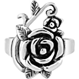AeraVida Blooming Timeless Rose Beauty .925 Sterling Silver Floral Ring
