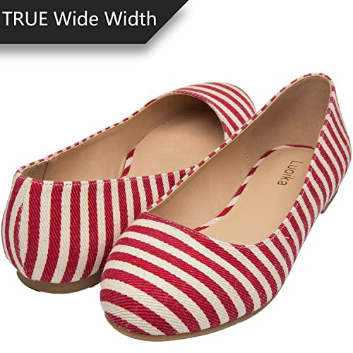 14ded7915 Women s Wide Width Flat Shoes - Comfortable Slip On Round Toe Ballet Flats.  (180110