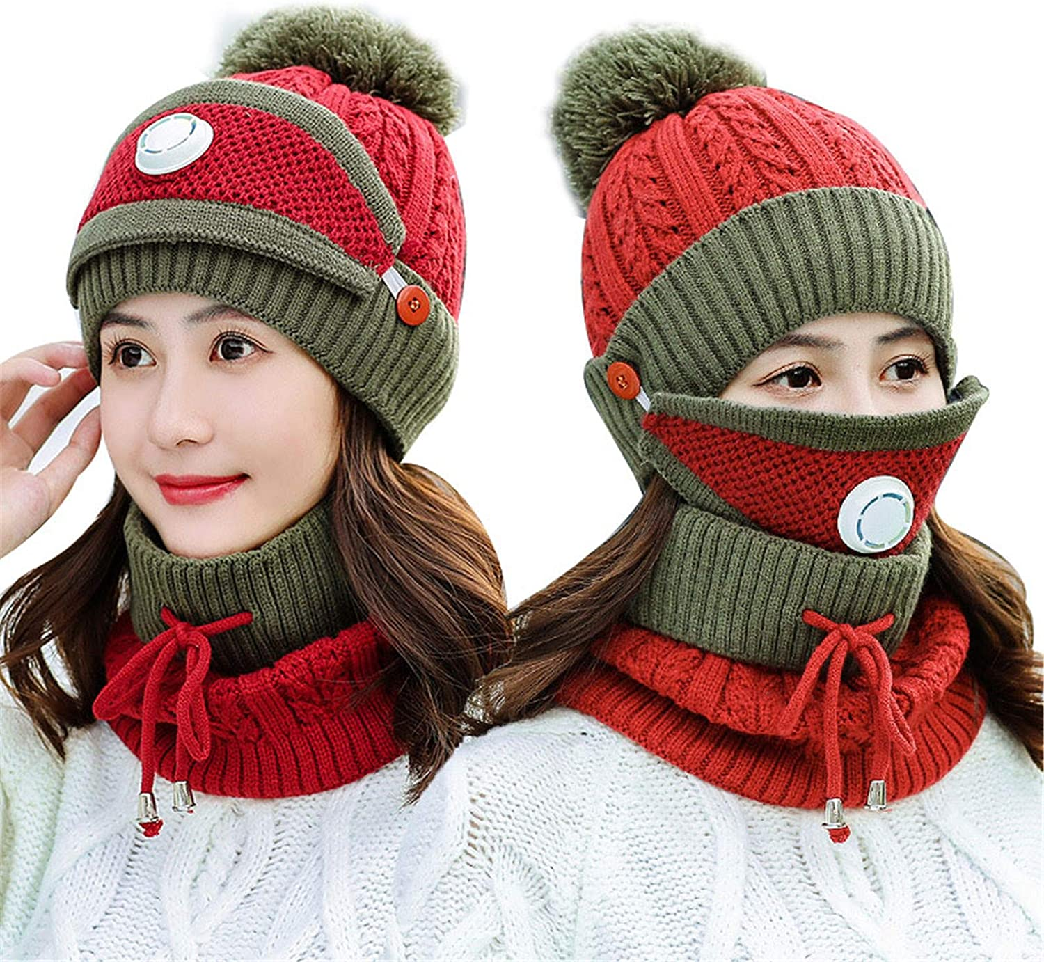 Monkys 3 In 1 Winter Scarf Set Women Warm Scarf Set Thickend Knitted Beanie Hat Scarf Neck Cover Pom Pom Cap For Indoor And Outdoor Sports Amazon Co Uk Kitchen Home