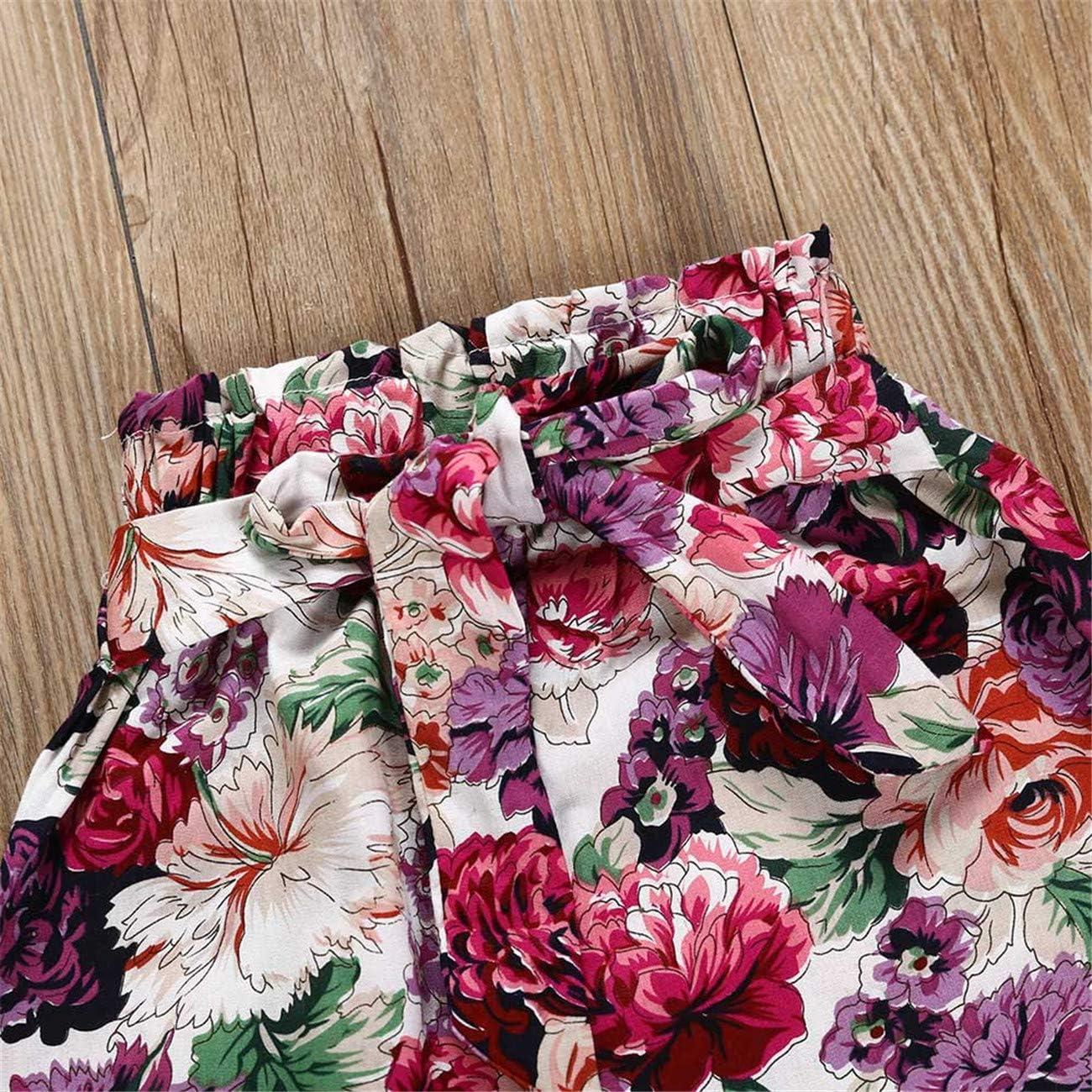 HCFKJ Ropa Bebe Ni/ñA Invierno Ni/ñO Manga Larga Camisetas BEB Conjuntos Moda Fruncido Mameluco Mono Floral Impresi/óN Pantalones Diadema Conjuntos
