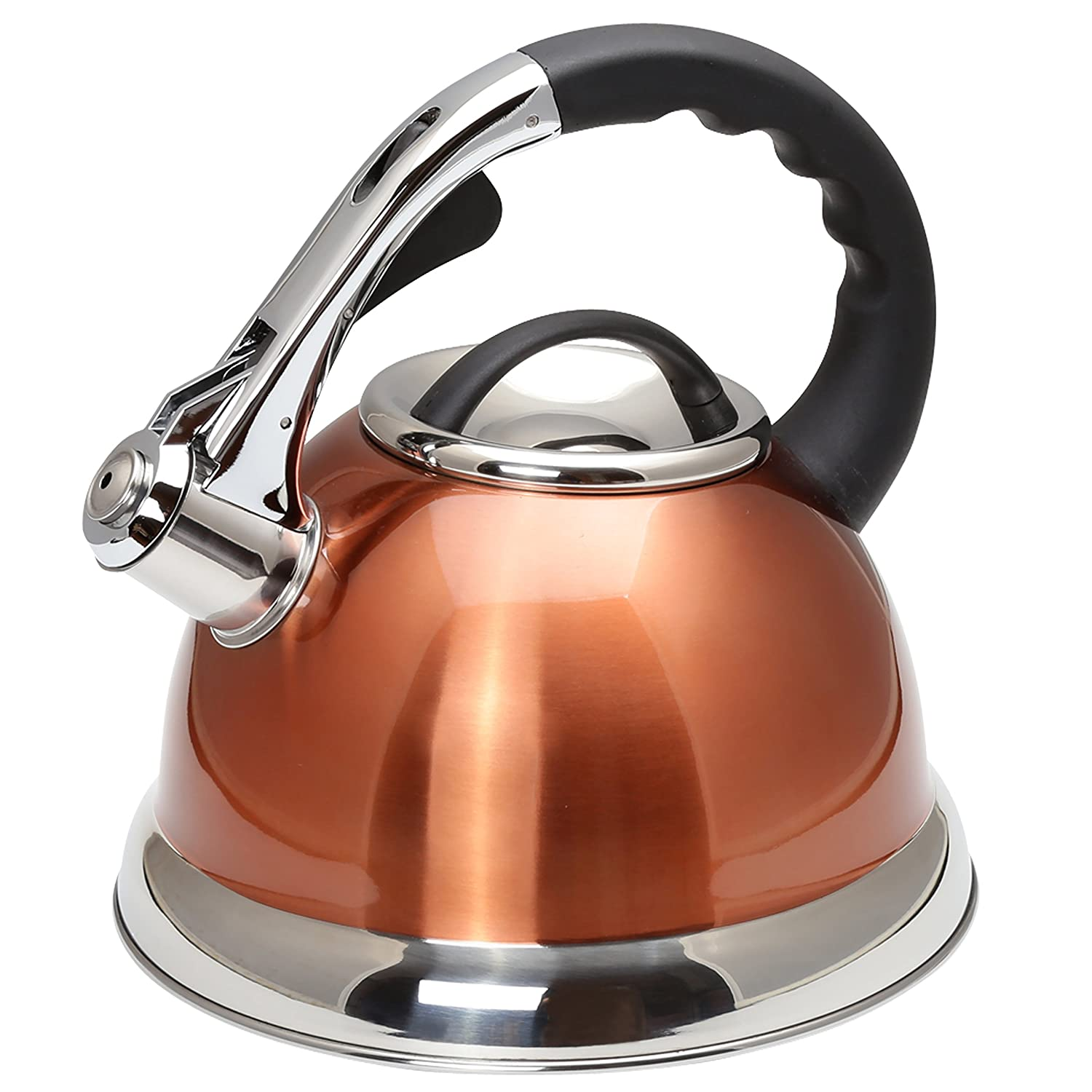 Creative Home 77032 Camille Stainless Steel Whistling Tea Kettle, 3-Quart, Opaque Black Evco International