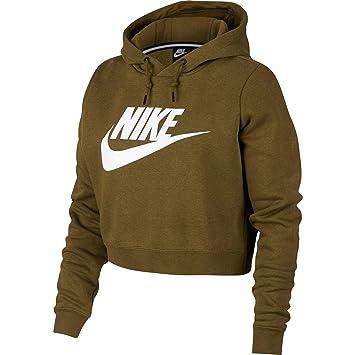 24bd6d19b5ad Nike W NSW Rally Hoodie Crop Sweatshirt, Damen M grün (Olive Canvas White