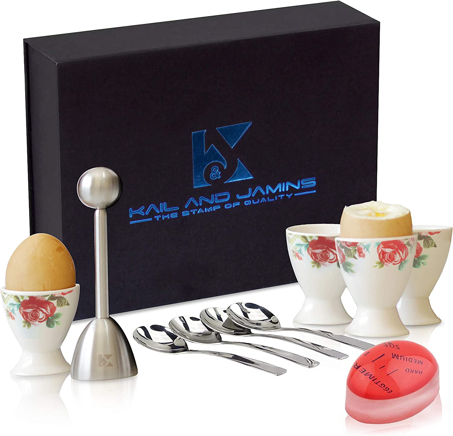 Egg Cups & Cracker Set with Beautiful Storage Box – Set Includes 4 Ceramic Egg Holders + 4 SS Spoons + 1 Egg Topper + Timer - Use the Cutter For Hard & Soft Boiled Eggs - Could be used as Egg Holders