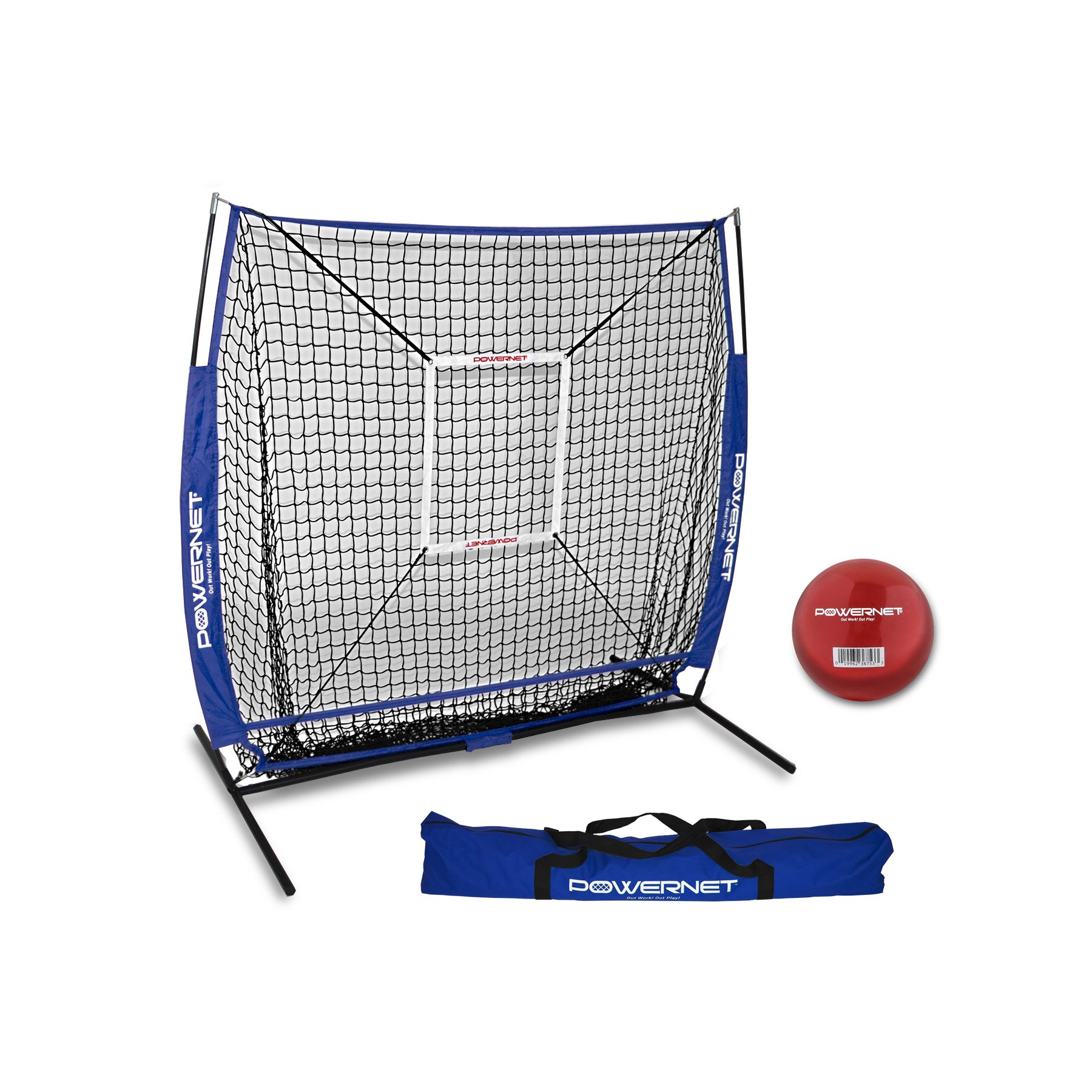 PowerNet 5x5 Practice Net + Strike Zone + Weighted Training Ball Bundle (Royal Blue) | Baseball Softball Coaching Aid | Compact Lightweight Ultra Portable | Team Color | Batting Screen by PowerNet