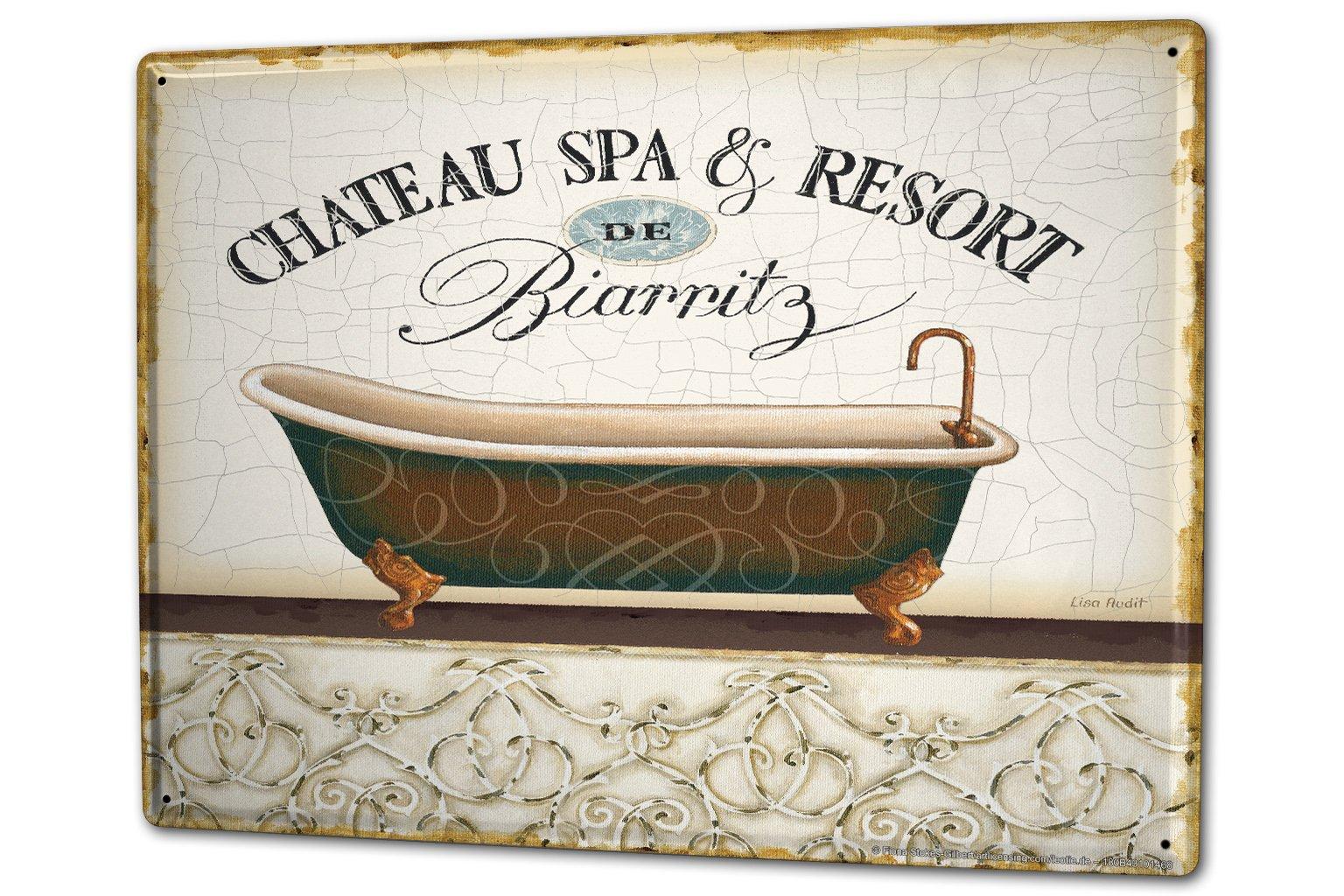 Tin Sign XXL Fun Ravtive Bath Spa Biarritz