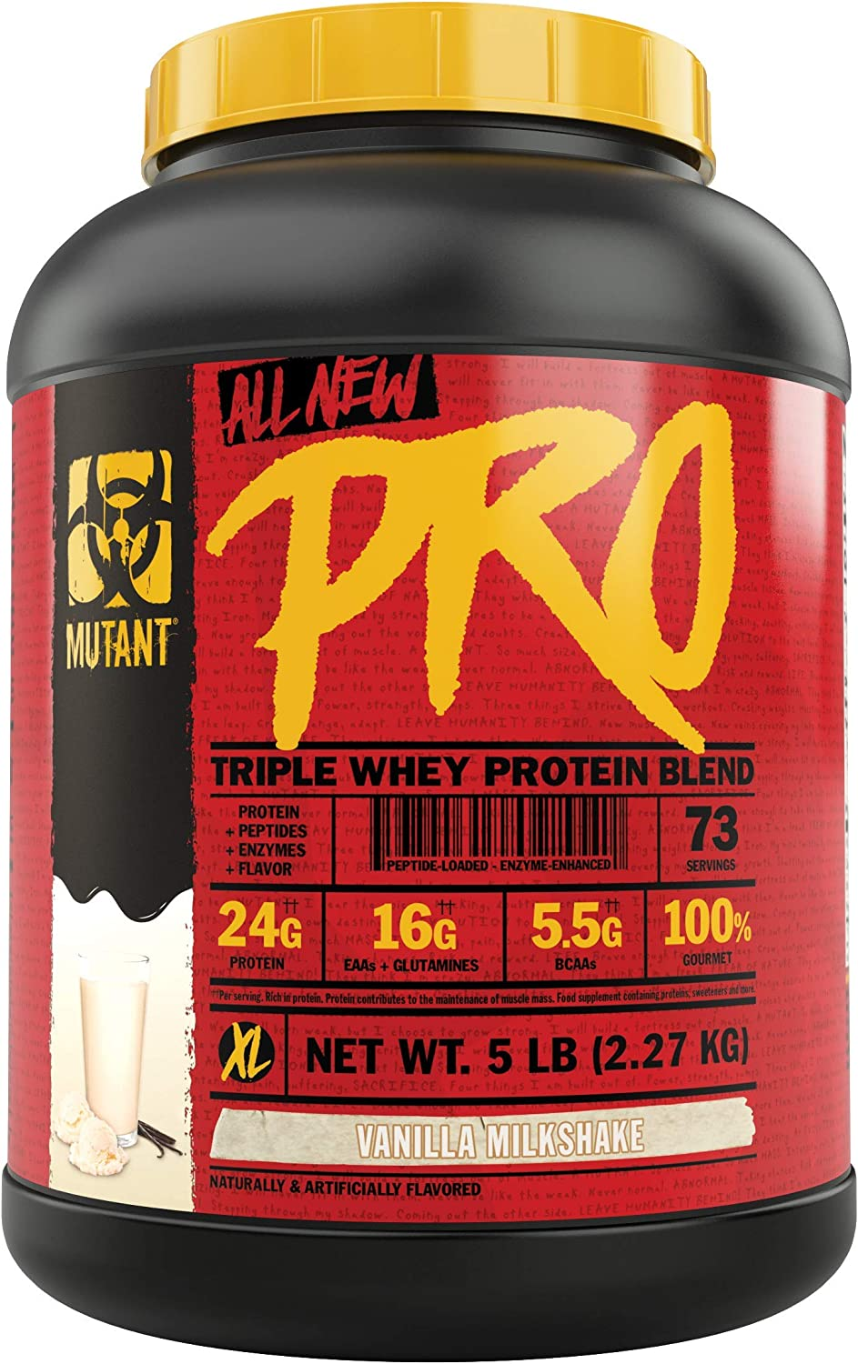 Mutant Pro Triple Whey Protein Powder Supplement Time-Released for Enhanced Amino Acid Absorption Decadent Gourmet Flavors 5 lbs Vanilla Milkshake