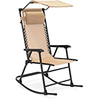 Folding Zero Gravity Mesh Rocking Chair Sunshade Canopy Steel Frame (Tan)