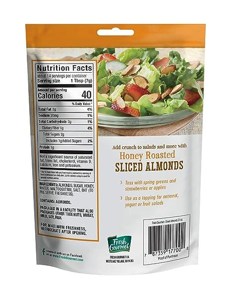 Amazon Com Fresh Gourmet Sliced Almonds Honey Roasted 3 5 Ounce Grocery Gourmet Food