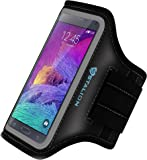Note 4 Armband: Stalion Sports Running & Exercise Gym Sportband for Samsung Galaxy Note 4 & Note Edge (Jet Black) Water Resistant + Sweat Proof + Key Holder + ID / Credit Card / Money Holder